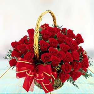 Red Rose Basket Flowers Heart Cake, Teddy & Card, India
