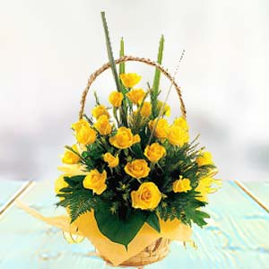 Yellow Rose Basket: Gift Kanpur,  India
