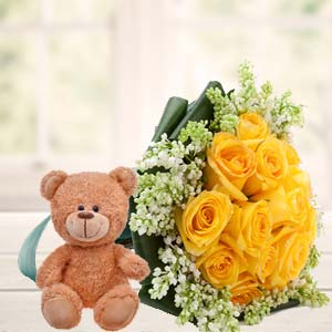 Yellow Roses And Teddy: Gift Thiruvananthapuram,  India