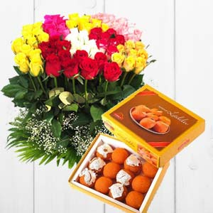 Mixed Mithai And Roses: Gift Rohtak,  India