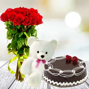 Roses Teddy Combo: Birthday  India