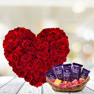 Heart Shaped Roses With Chocolates: Gift Balasore,  India