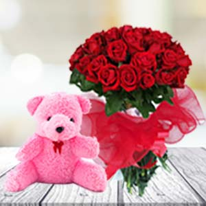 24 Red Roses & Teddy: Gift Sonipat,  India