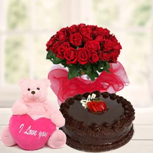 Teddy, Red Roses & Cake: Rose Day Guna,  India