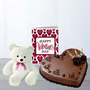 Heart Cake, Teddy & Card: Gift Ambala,  India