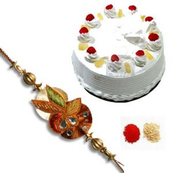 Rakhi With Pineapple Cake: Rakhi  India