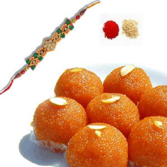 Rakhi With Motichoor Laddoo: Rakhi New Mumbai,  India