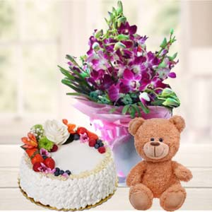 Teddy Bear, Flowers And Cake: Gift Ajmer,  India