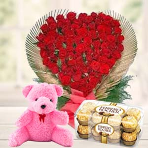 Valentine Flower & Teddy Combo: Gifts Bangalore,  India