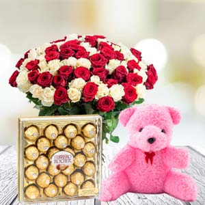 Valentine Chocolate & Teddy Combo: Combos  India