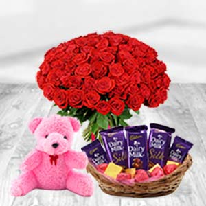 Valentine Chocolate Basket Combo: Rose Day Mangalore,  India