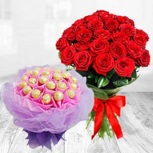 Flower Bunch With Chocolates Bouquet: Rose Day Guna,  India