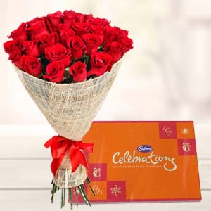 Red roses bouquet with cadbury celebrations-combos-India