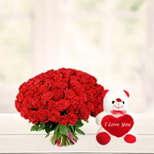 Roses With Teddy Bear Combo: Gift Zirakpur,  India