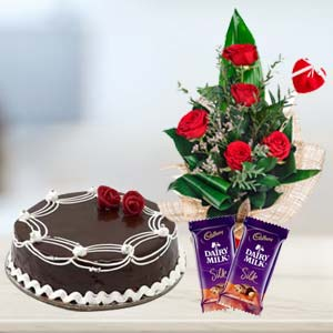 Cadbury Temptations Combo With Flowers: Rose Day Ajmer,  India