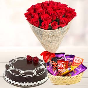 Flowers Combo With Chocolates: Gifts Bangalore,  India