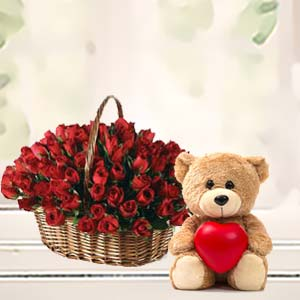 Roses Basket With Teddy Bear: Rose Day Mathura,  India