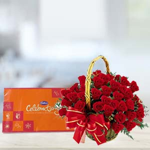 Cadbury Celebration With Roses: Anniversary-flowers-&-chocolates  India