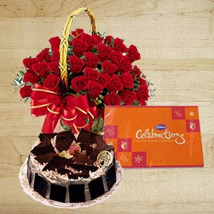Roses With Cakes And Cadbury: Gift Kota,  India