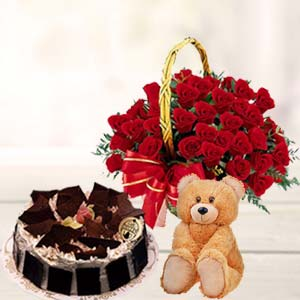 Roses Combo With Teddy: Gift Guwahati,  India