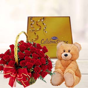 Roses With Teddy And Cadbury: Valentine's Day Chocolates Thiruvananthapuram,  India