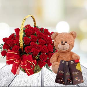Roses With Teddy And Temptations: Gift Cuttack,  India