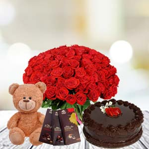 Valentine Basket Combo With Temptations: Gifts Bangalore,  India