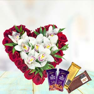 Heart Shaped Arrangement With Temptations: Gift Chennai,  India