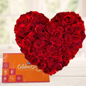 Heart Shaped Arrangement With Cadbury: Valentine's Day Chocolates Noida,  India