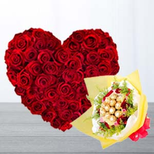 Heart Shaped Arrangement With Chocolates: Gift Aurangabad,  India
