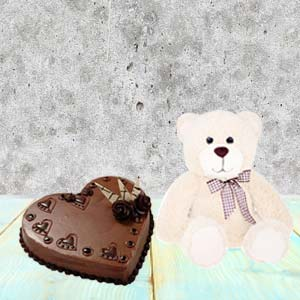 Heart Shaped Cake Combo With Teddy: Gift Rohtak,  India