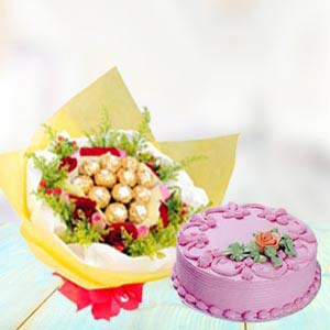 Ferrero Rocher Bunch With Cake: Gift Ambala,  India