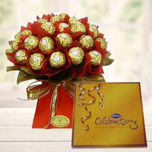Ferrero Rocher Bouquet With Cadbury: Gift Kanpur,  India