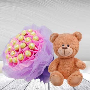 Ferrero Rocher Bunch With Teddy Bear: Birthday-gift-ideas  India