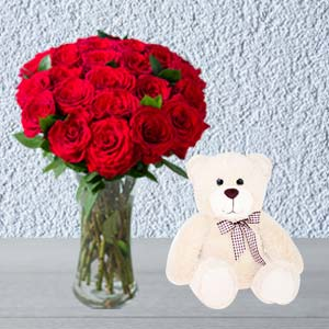 Roses Combo With Vase And Teddy: Gifts For Her Faridabad,  India