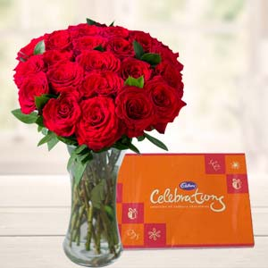 Roses In Glass Vase With Cadbury: Gifts For Her Warangal,  India