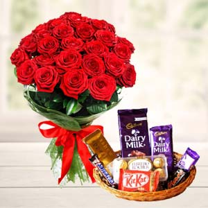 Chocolate Basket With Roses: Birthday-flowers-&-chocolates  India
