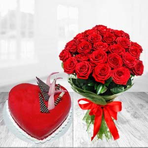 Red Heart Shaped Cake Combo: Anniversary-gift-ideas  India