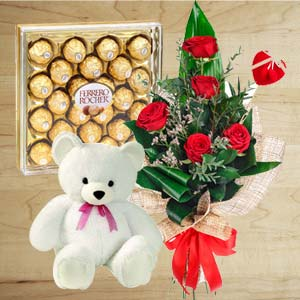 Chocolate Combo With Softtoys: Rose Day Kolhapur,  India