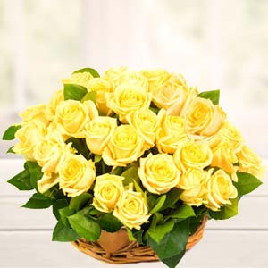Basket Of Yellow Roses : Birthday  India