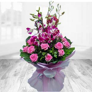 Bunch Of Pink Roses With Orchids: Gift Haridwar,  India