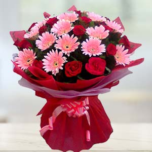 Red Roses And Pink Gerbera: Birthday  India
