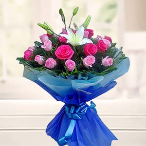 Bouquet Of Mix Roses With Lilliies: Karwa Chauth Gifts  India