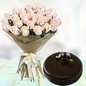 White Roses With Dark Chocolate Cake: 1st-birthday-gifts  India