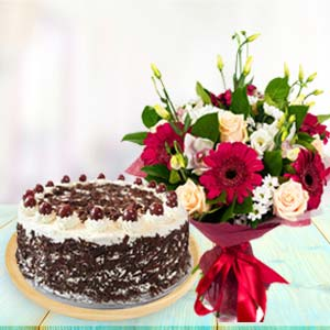 Mix Flowers With Black Forest Cake: Gift Gurdaspur,  India
