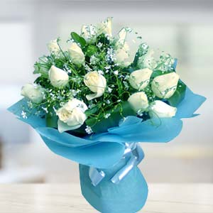 White Rose Bunch: Gift Chennai,  India