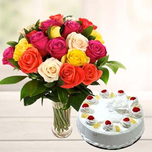 Mix Roses With Pineapple Cake: Gifts For Her Ludhiana,  India