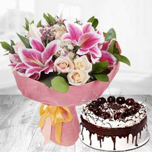 Fresh White Roses With Pink Lillies Combo: Anniversary-gift-ideas  India