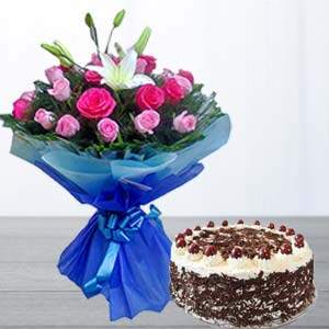Fresh Pink Roses & Cake Combo : Womens-day  India