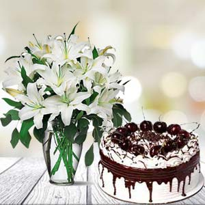 White Lilies With Vanila Cake: Gift Patna,  India